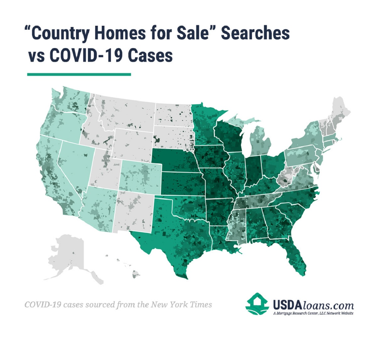 concentration of searches for country homes for sale vs COVID-19 cases graph